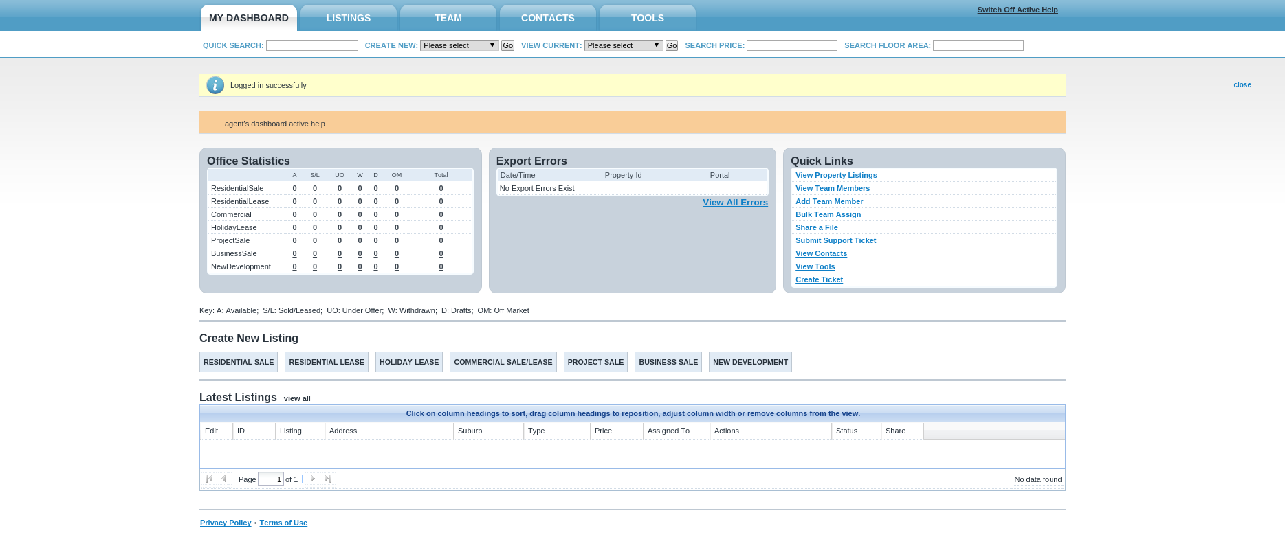 Preview of our CRM and bulk uploader